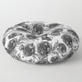 Abstract Poppy Pattern Black And White Floor Pillow