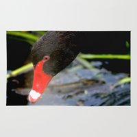 black swan Area & Throw Rugs featuring Black Swan by Chris' Landscape Images & Designs