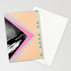 Peachy with Blue Triangles Stationery Cards