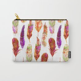 Watercolor Orange Feathers Carry-All Pouch