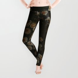 Midnight Dark Floral Grunge Leggings
