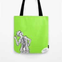 dangan ronpa Tote Bags featuring kuzuryuu by Mottinthepot
