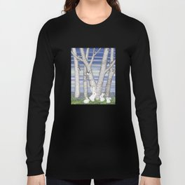 nuthatches, bunnies, and birches Long Sleeve T-shirt