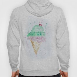 Icecream Summer love Cherry illustration ice cream cone watercolor Hoody