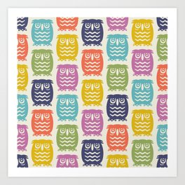 Mid Century Owl Pattern Multi-Color 22 Art Print