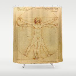 The Vitruvian Man 1405 (L Uomo Vitruviano) Leonardo da Vinci Artwork for Prints Posters Tshirts Men Shower Curtain