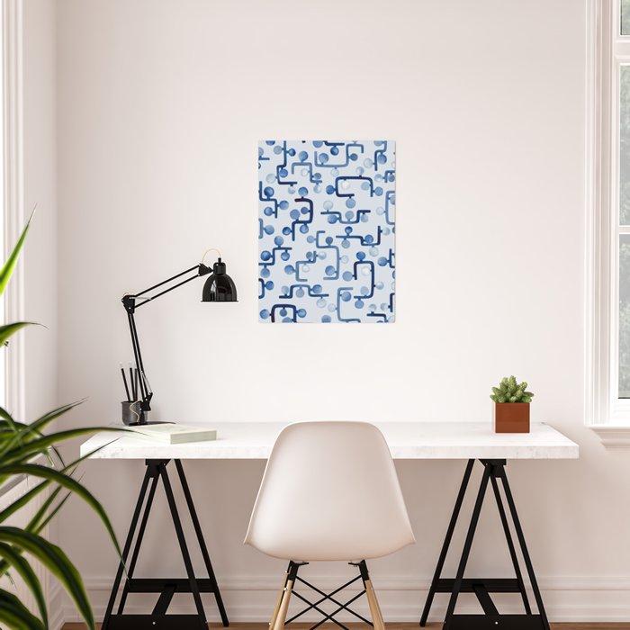 Blue Watercolour Zig Zag Poster