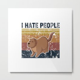 I hate People Retro Vintage OTTER Metal Print