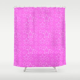 White and Pink Stars Shower Curtain
