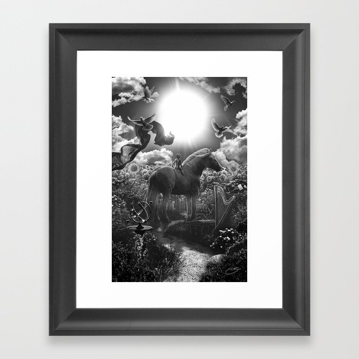 XIX. The Sun Tarot Card Illustration Framed Art Print