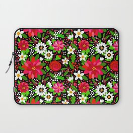 Christmas Flowers and Holly, Poinsettia, Roses and Lilies, holidays, girls floral gift, gift for mom Laptop Sleeve