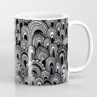 alisa burke Mugs featuring black and white scallops by Alisa Burke