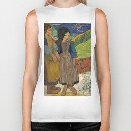 Two Breton Girls by the Sea by Paul Gauguin Biker Tank