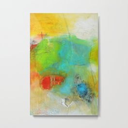 Green Aqua Yellow Abstract Art Painting Print  Metal Print