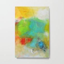 Green Aqua Yellow Abstract Art Painting Print  Metal Print