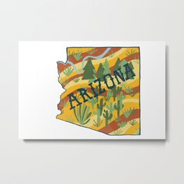 Arizona Illustrated Map Metal Print