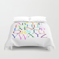 alphabet Duvet Covers featuring Alphabet by Beatrice K