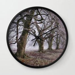 Trees and fog on a frosty morning. Santon Downham, Norfolk, UK. Wall Clock