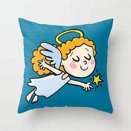 angel girl show a star Throw Pillow