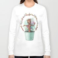groot Long Sleeve T-shirts featuring Baby Groot by Pendientera