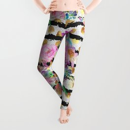 Elegant spring flowers and stripes design Leggings