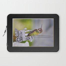 Hummingbird on Train Windchime. © J. Montague. Laptop Sleeve
