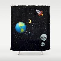 emoji Shower Curtains featuring Space Emoji by jajoão