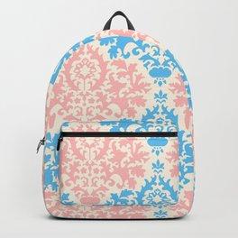 Pastel blue pink vintage floral damask pattern Backpack