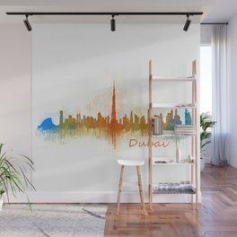 Dubai, emirates, City Cityscape Skyline watercolor art v3 Wall Mural