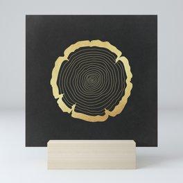 Metallic Gold Tree Ring on Black Mini Art Print