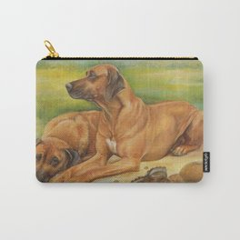 Rhodesian Ridgeback pair African hounds Safari style scene Dog portrait in scenic landscape Painting Carry-All Pouch