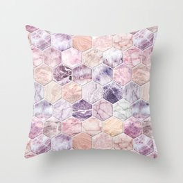 Rose Quartz and Amethyst Stone and Marble Hexagon Tiles Throw Pillow