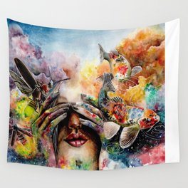 She lived with her head in the clouds... Wall Tapestry