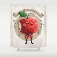 apple Shower Curtains featuring Apple by Lime