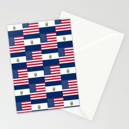 Mix of flag:  Usa and Salvador Stationery Cards
