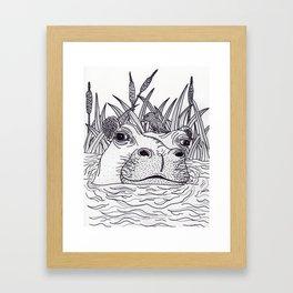 Black and White Hippo Framed Art Print