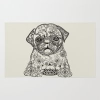 persian Area & Throw Rugs featuring Persian Pug by Huebucket