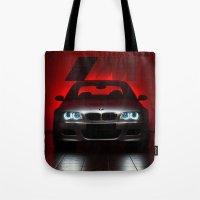 bmw Tote Bags featuring BMW M3 by Vasco Estrelado - Photographer