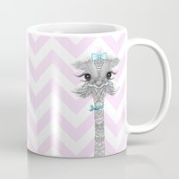 ostrich Mugs featuring OsTRICH by Monika Strigel