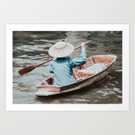 Small Thai longtailboat in water ways near Bangkok Art Print