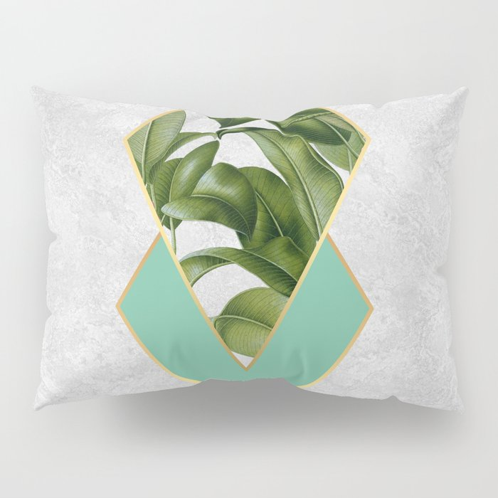 Leaves on marble Pillow Sham