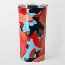 Poppie Camouflage Red Blue Travel Mug