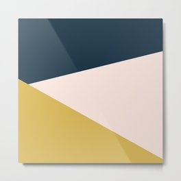 Jag 2. Minimalist Angled Color Block in Navy Blue, Blush Pink, and Mustard Yellow Metal Print