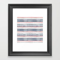 Minimal stripes painted stripe pattern navy modern trendy color palette nursery Framed Art Print