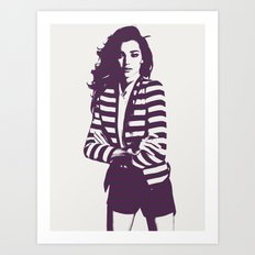 Miranda Kerr Stripes Art Print