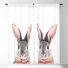 Baby Rabbit, Grey Bunny With Bow Tie, Baby Animals Art Print By Synplus Blackout Curtain