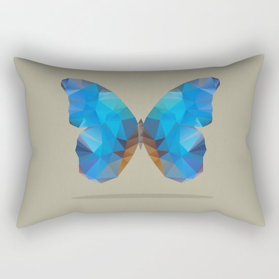 Blue Butterfly Rectangular Pillow