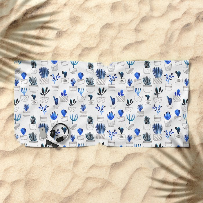 Blue cacti Beach Towel