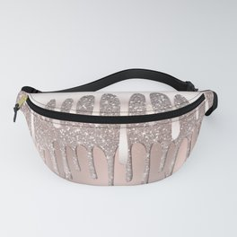 Icy Pink Rose Gold Diamond Dust Glitter Drips Fanny Pack