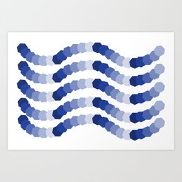 Monochromatic Blue Heptagon Waves Art Print